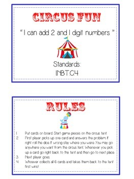 Circus Fun Math Folder Game - Common Core - Adding 2 and 1 Digit Numbers