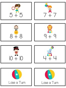 Circus Fun Math Folder Game - Common Core - Adding Doubles
