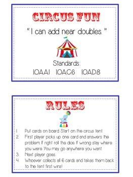 Circus Fun Math Folder Game - Common Core - Adding Near Doubles
