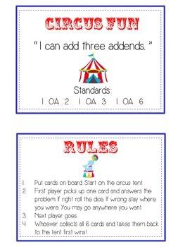 Circus Fun Math Folder Game - Common Core - Adding Three 3 Numbers