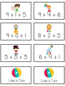 Circus Fun Math Folder Game - Common Core - Adding Three 3 Numbers