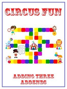 Circus Fun Math Folder Game - Common Core - Adding Three 3