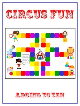 Circus Fun Math Folder Game - Common Core - Adding to 10