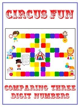 Circus Fun Math Folder Game - Common Core - Comparing 3 Di