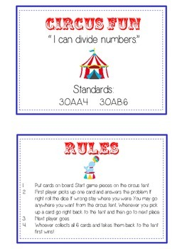 Circus Fun Math Folder Game - Common Core - Division - Dividing Numbers
