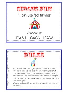 Circus Fun Math Folder Game - Common Core - Fact Families