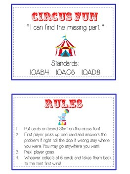 Circus Fun Math Folder Game - Common Core - Finding the Missing Part