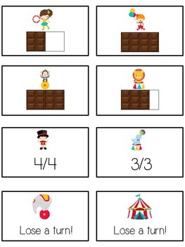 Circus Fun Math Folder Game - Common Core - Fractions