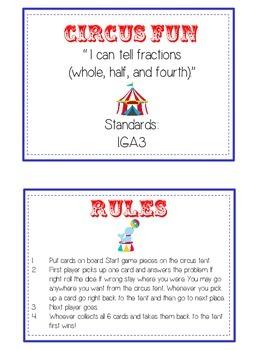 Circus Fun Math Folder Game - Common Core - Fractions