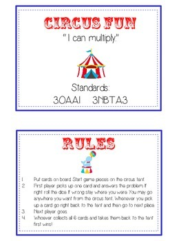 Circus Fun Math Folder Game - Common Core - Multiplication