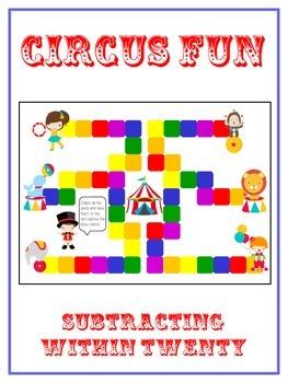 Circus Fun Math Folder Game - Common Core - Subtracting 10 to 20