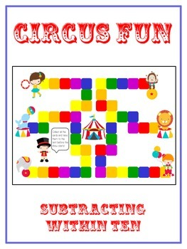 Circus Fun Math Folder Game - Common Core - Subtracting within 10