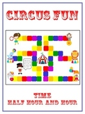 Circus Fun Math Folder Game - Common Core - Telling Time Half Hour Hour