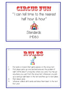 Circus Fun Math Folder Game - Common Core - Telling Time Half Hour Hour