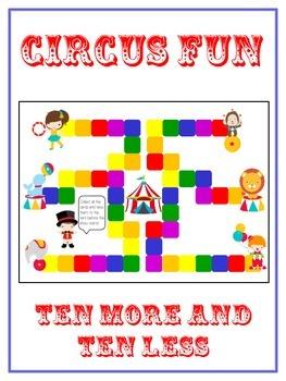 Circus Fun Math Folder Game - Common Core - Ten More and Ten Less