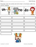 Circus Fun Prefix Word Sort (un, re, dis)