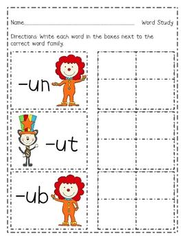 Circus Fun Short U Write the Room