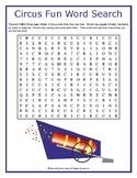 Circus Fun Word Search Puzzle