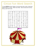 Circus Fun Word Search Puzzle (Easy)