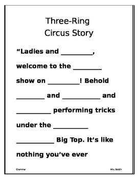 Circus Grammar- 1st Day Fill in the Blank Activity