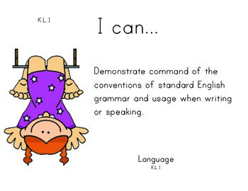 Circus Kindergarten English Common core standards posters
