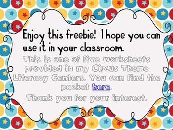 Circus Literacy Center Freebie