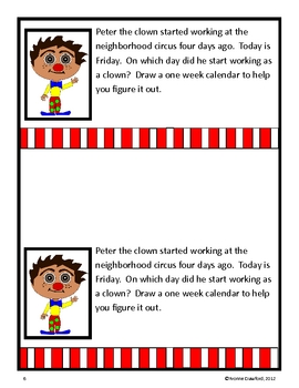 Circus Math Journal Prompts (1st and 2nd grade)