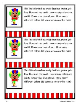 Circus Math Journal Prompts (kindergarten)