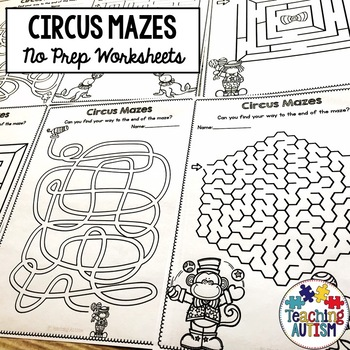 Circus Mazes Activities
