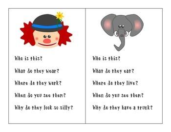 Circus Language Unit: WH Questions, Comprehension, Main Idea/Details & More!