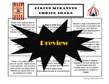 Circus Mirandus Choice Board Novel Study Activities Menu Book Project