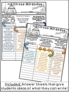 Circus Mirandus- Novel Study - by:Cassie Beasley- Creative Writing Activity