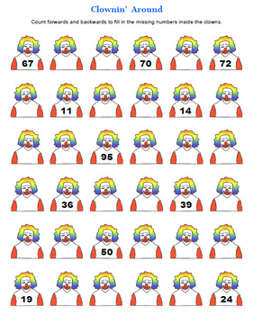 Circus Order Worksheets: Numbers to 100