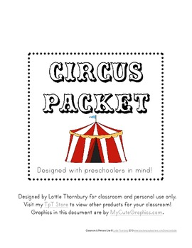 Circus Packet: Preschool & Early Elementary Printables & A