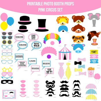 Circus Pink Printable Photo Booth Prop Set