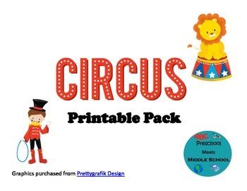 Circus Preschool Printable Pack