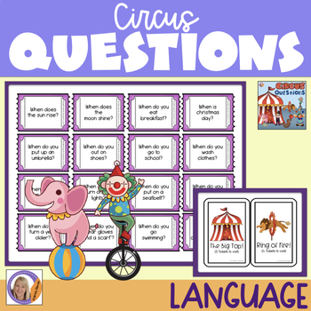 WH questions with a circus theme