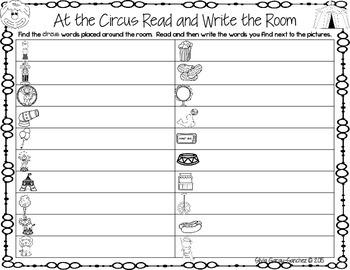 Circus Read and Write the Room Center