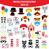 Circus Red Printable Photo Booth Prop Set