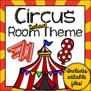 Circus Room Theme Classroom Decor {Editable}