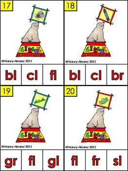 Circus Seal Blend and Digraph Match and Clip Activity Cards