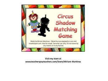 Circus Shadow Match Card Game.
