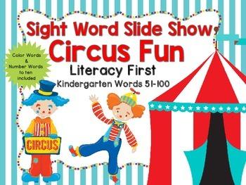 Sight Word Slide Show, Literacy First, Kindergarten Words 51-100, Circus Fun