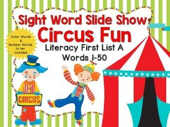 Sight Word Slide Show, Literacy First List A, Words 1-50,