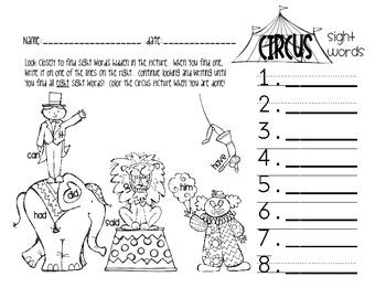 Circus Sight Words Activity [FREEBIE!]