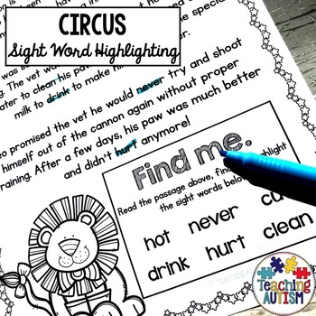 Circus Sight Words, Read and Highlight