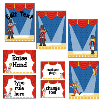Circus Labels- Editable