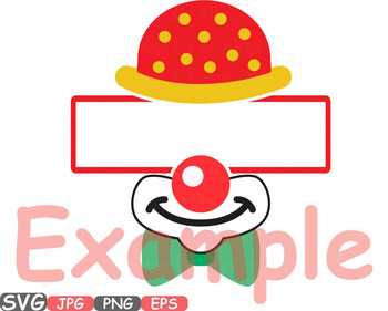 Circus Split Clown Clipart HAT mask PARTY birthday Tent magician frame -561s