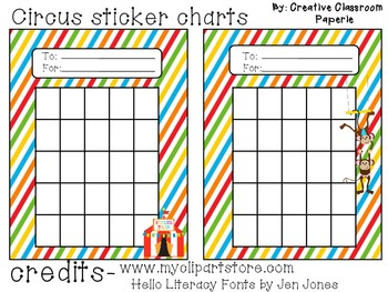 Circus Sticker Charts