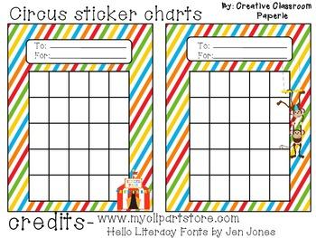 Circus Sticker Charts